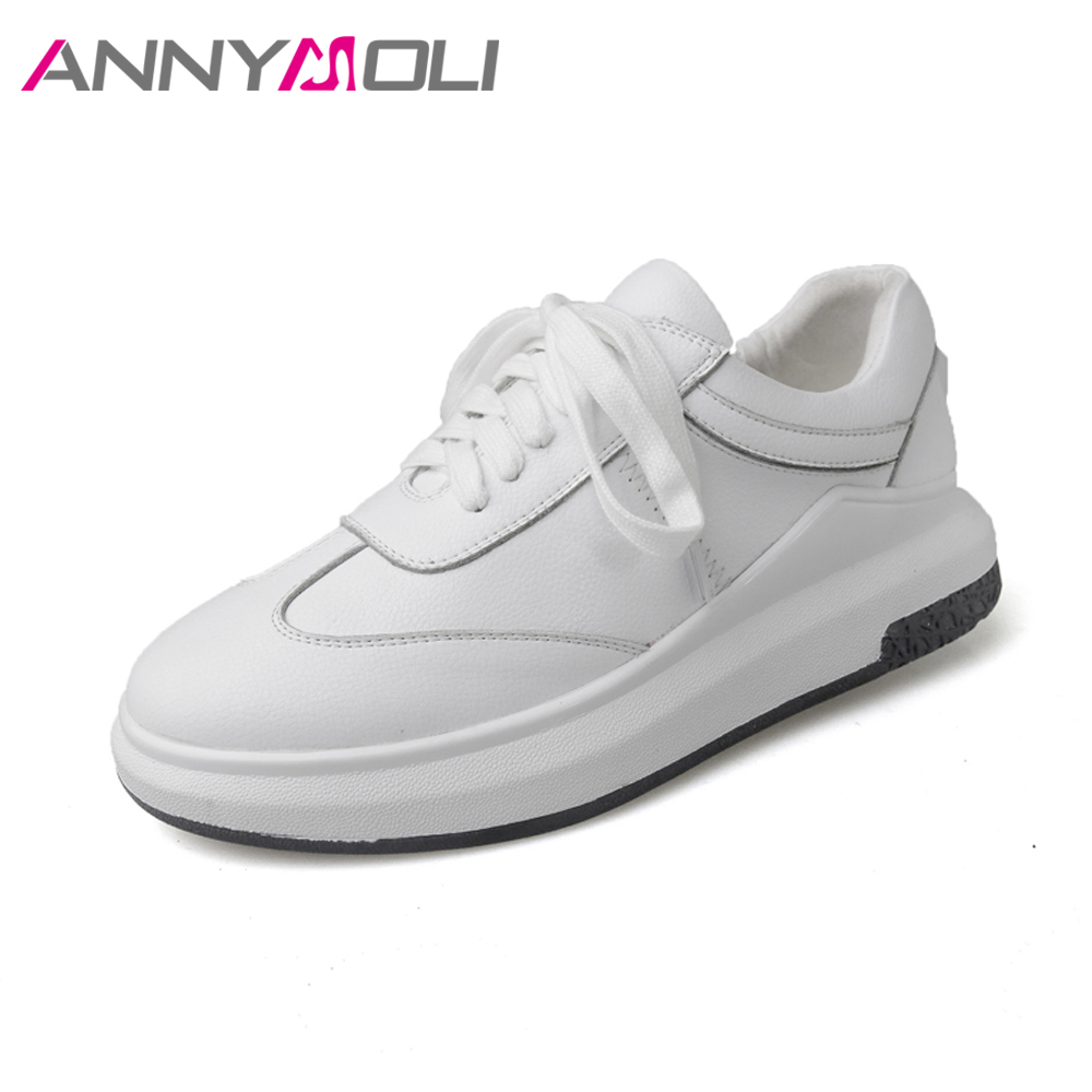 ANNYMOLI Women Sneakers Genuine Leather Shoes Flats Creepers White Shoes Spring 2018 Sewing School Lace Up Casual Shoes Autumn asumer white spring autumn women shoes round toe ladies genuine leather flats shoes casual sneakers single shoes