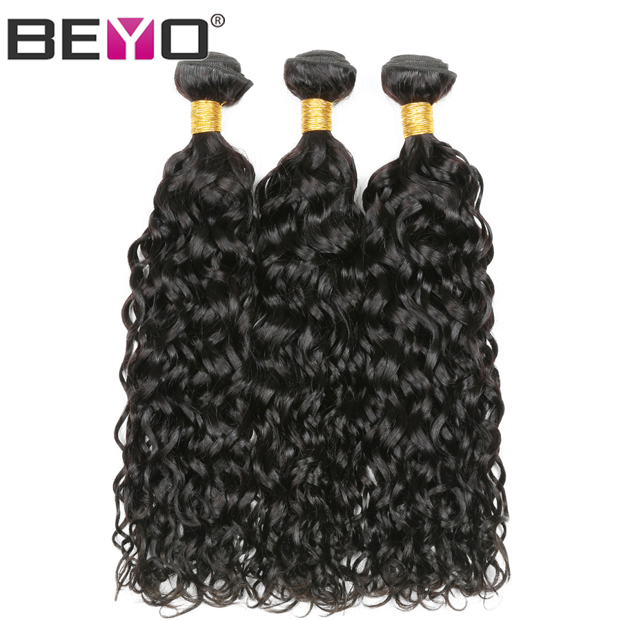 Water Wave 3 Bundles Brazilian Hair Weave Bundles 10-28inch Double Weft Human Hair Extensions Natural Color Non-Remy Beyo Hair
