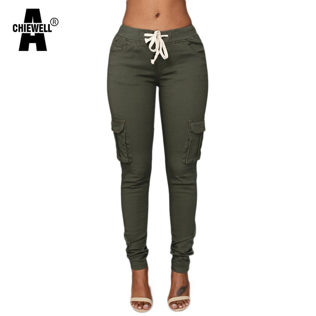 LIENZY Spring Casual Multi Pocket Pants High Waist Solid Lacing White Red Army Khaki Shiny Pencil Pants Capris Women Trousers