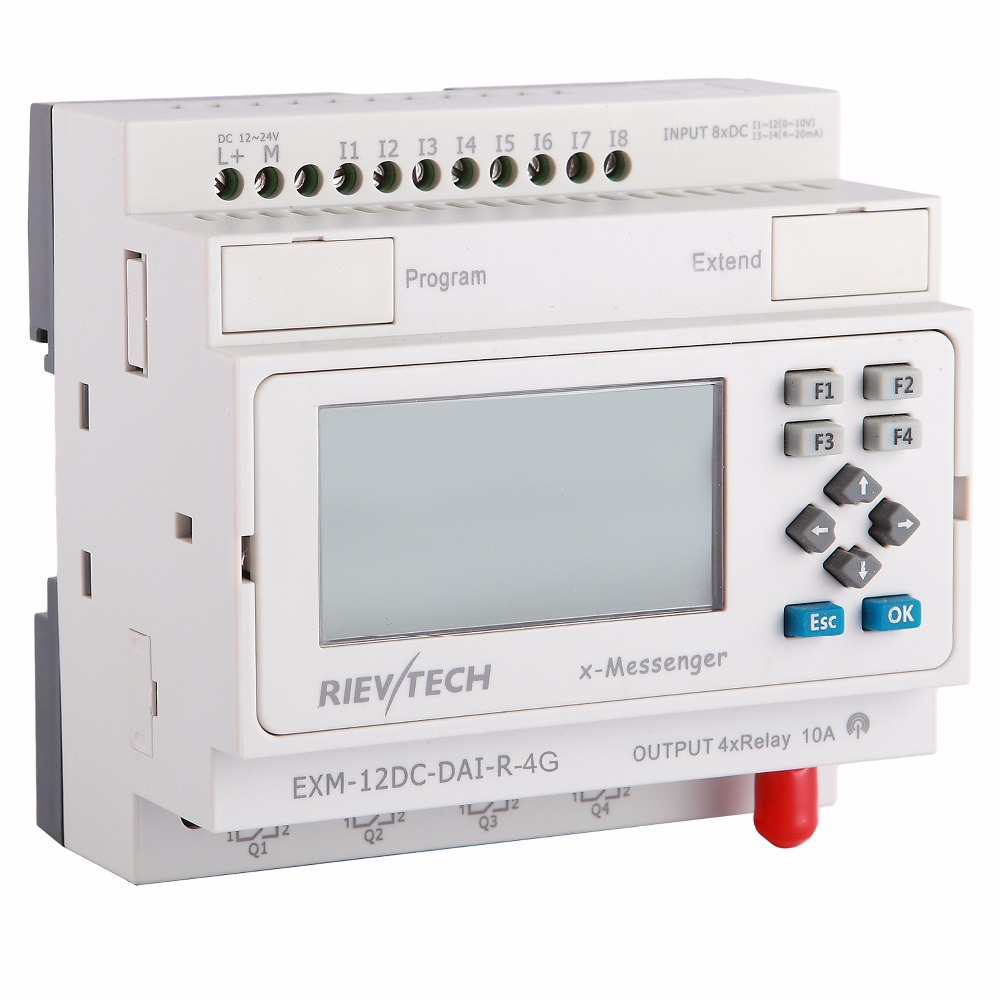 GSM/SMS/GPRS PLC,ideal Solution For Remote Control& Monitoring &alarming Applications ,intelligent Controller EXM-12DC-DAI-R-4G