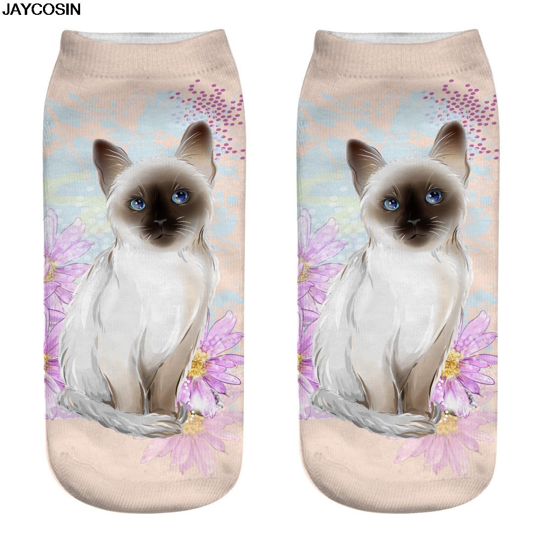 JACOSIN new fashion Cotton Socks Cat Printed Crew Socks 3D Sublimated Elastic Novelty Crazy Cool Sock For Gifts female 20190312