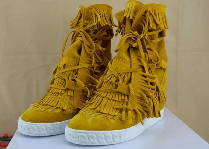 Shoes Autumn For Women 2018 Round Toe Suede Leather Tassel Height Increasing Ankle Boots Fringed Lace Up Wedges BottinesShoes Autumn For Women 2018 Round Toe Suede Leather Tassel Height Increasing Ankle Boots Fringed Lace Up Wedges Bottines