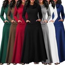 Kobiety ciepła sukienka z kieszenią Casual jednokolorowa klasyczna jesienno zimowa sukienka Maxi łuk szyi długa elegancka sukienka Vestidos kobiece ciało