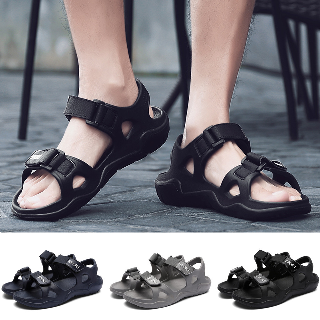 Men Casual Leather Sandals Summer Beach Sports Breathable Flat Shoes Non-slip