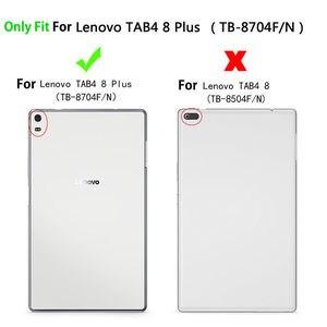 """Image 2 - Kılıf için Lenovo Tab 4 8 artı TB 8704X kılıfları TB 8704F TB 8704N 8 """"kapak Funda Tablet deri el tutucu standı kabuk + Film + kalem"""