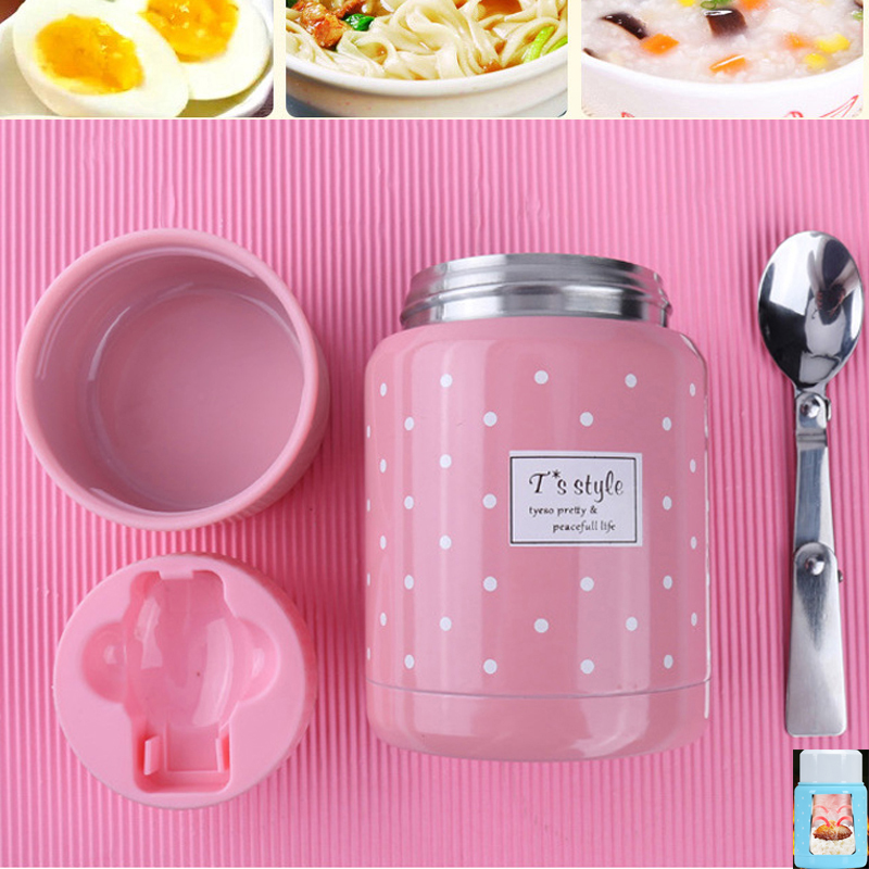 cute 350ml food thermos mug with inox folding spoon soup thermo portable termos bag good for kids taking lunch to school picnic