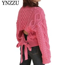 YNZZU 2019 Fashion Autumn Winter O-neck womens sweater Sexy hollow out lace up knitted tops Loose female Knit pullover YT651