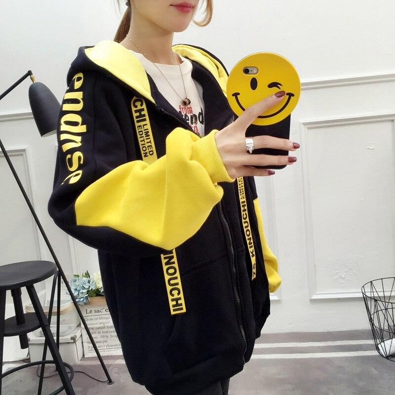 Patchwork Hoodie Pullover Woman Long Sleeve Hooded Sweatshirt 2019 Kpop Autumn Harajuku Tracksuit Sudaderas Mujer streetwear 31