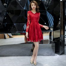 fc208e9f4 2019 nuevo cuello en V Mini vestido para fiesta vino rojo de manga larga de  encaje vestidos de baile corto Plus tamaño