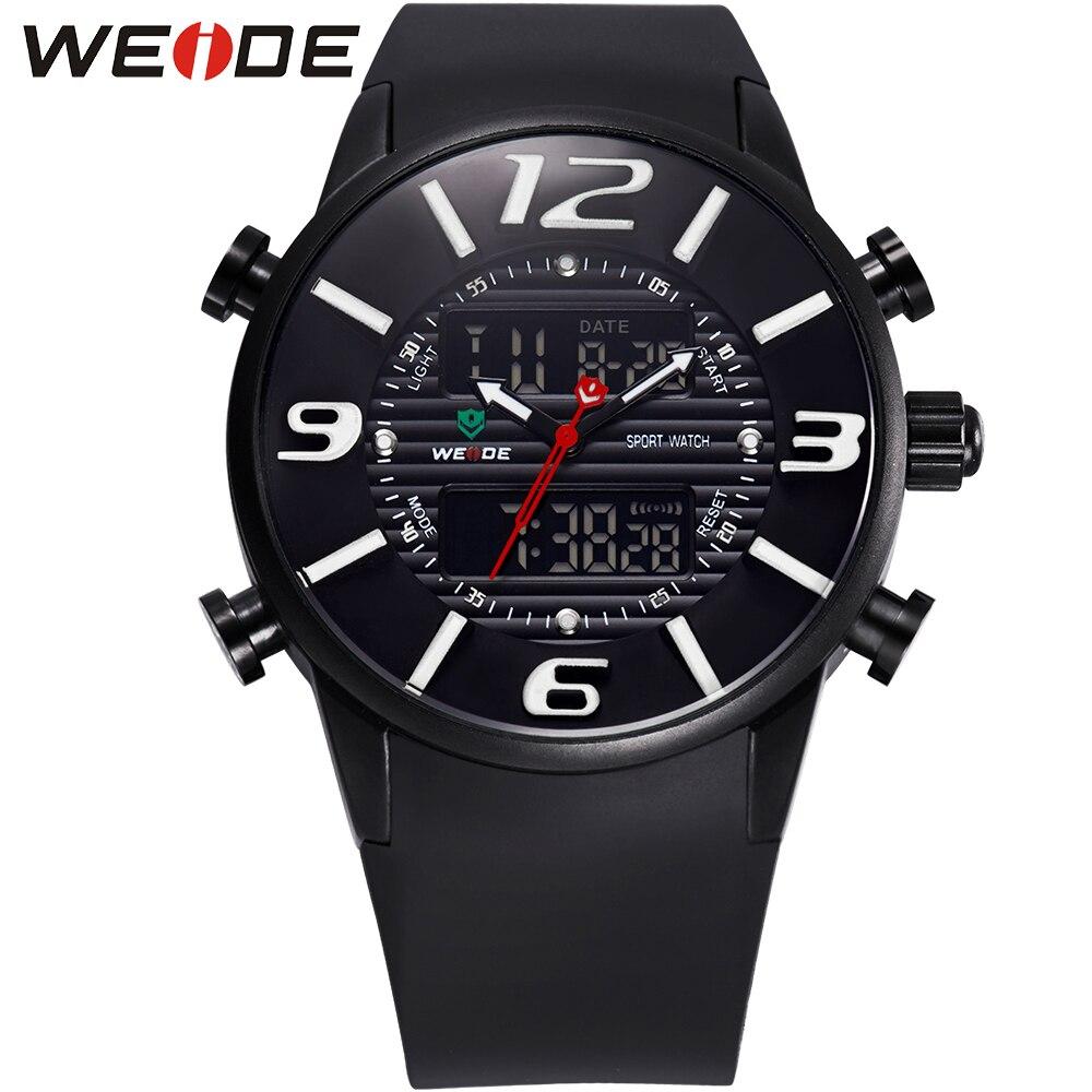 ФОТО WEIDE New Casual Wrist Watches For Men Quartz Analog Digital Dual Movement Multi-Functional PU Bracelet 3ATM Waterproof relogio