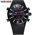 WEIDE New Casual Wrist Watches For Men Quartz Analog Digital Dual Movement Multi-Functional PU Bracelet 3ATM Waterproof relogio