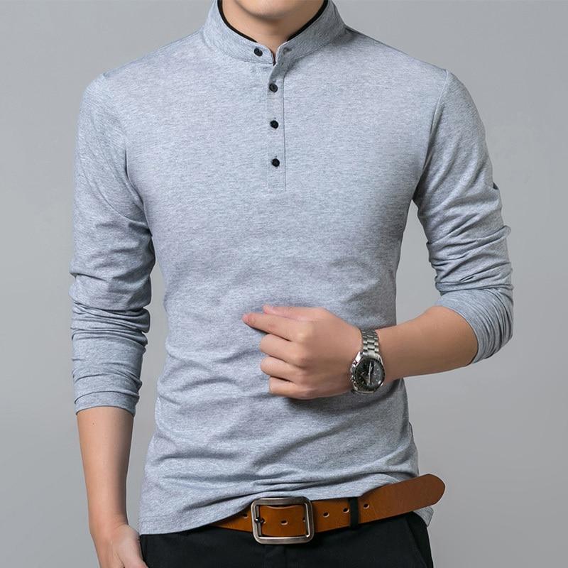 Liseaven T-Shirt Men Cotton T Shirt Full Sleeve tshirt Men Solid Color T-shirts tops&tees Mandarin Collar Long Shirt 4