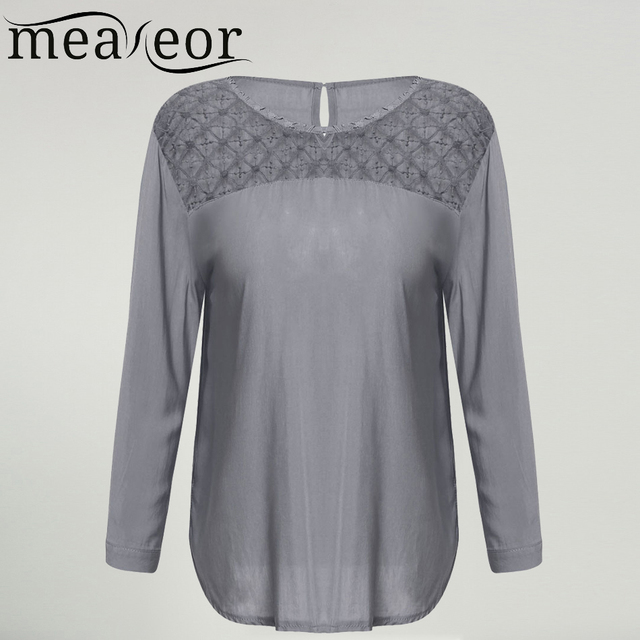 Meaneor Brand Casual Lace Blouse Women 2017 New Autumn Solid Shirt Blouse For Lady Crochet Lace 3/4 Sleeve Blouses M,L,XL,XXL