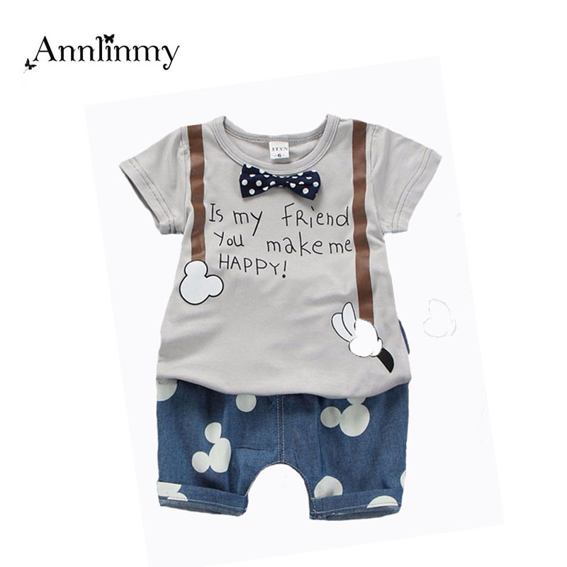 2018 summer children clothing baby boys outfit print t shirt+mouse pant 2pcs baby boy clothes set roupa infantil newborn boy set купить недорого в Москве