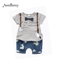 2016 New Summer Infant Outfit Letter Print T Shirt Mouse Pattern Pants 2pcs Baby Boys Clothes