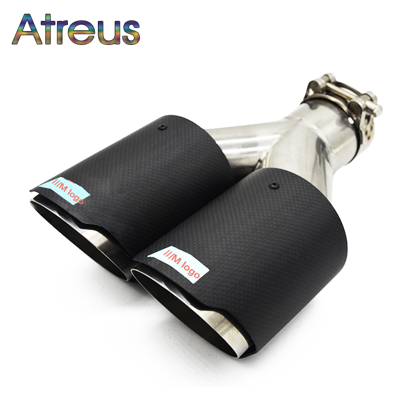 Atreus 1pcs High Quality M performance Carbon Fiber Car Exhaust Pipe Tip Motorsport Modified For BMW 1 3 5 7 Series Accessories epman universal black 3 76mm polished aluminum fmic intercooler piping kit diy pipe l 450mm for bmw e30 3 series ep lgtj76 450