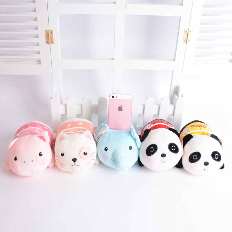 Metoo Kawaii Plush Cartoon Mobile Phone Seat Baby Toys Kids Children Stuffed Panda Pig Cat Toys Soft Cute Phone Stand Holder baby toys