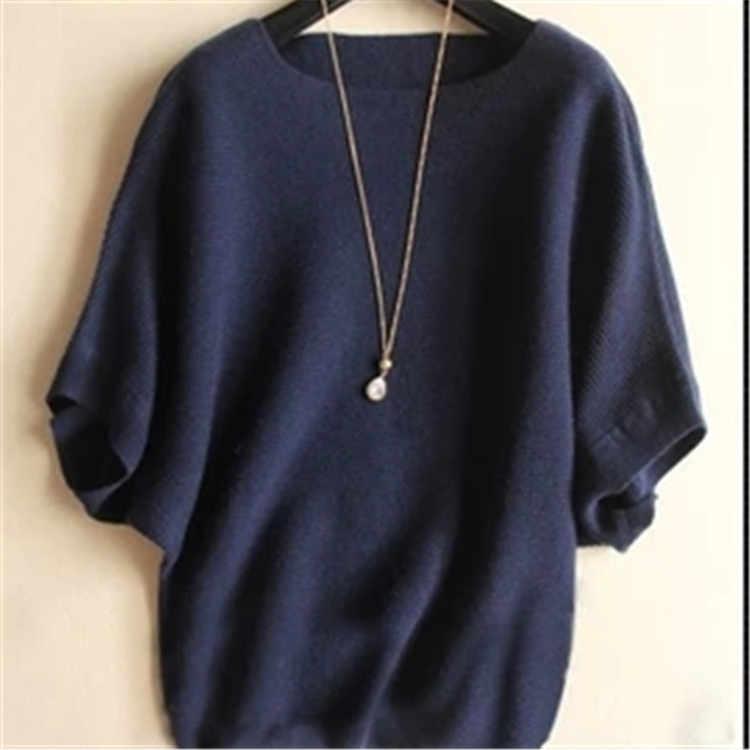 """Осень-зима 2019, Женский кашемировый свитер, свободный размер, рубашка с рукавом """"летучая мышь"""", вязаный шерстяной свитер, Женский пуловер"""