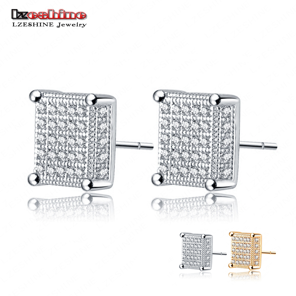 LZESHINE Golden Silver Color Micro Inlay AAA Cubic Zirconia Square Earring Stud For Fashion Women CER101