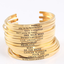 2017 Hot Gold Color 316L Stainless Steel Engraved Positive Inspirational Quote Cuff Bracelet Mantra Bracelet Bangle for Women цены