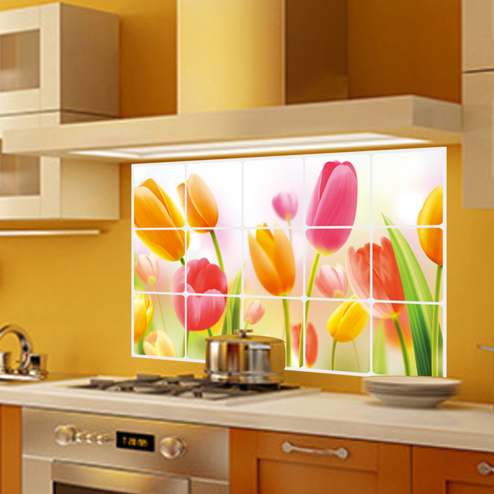 LOVE COSY Tulip Flower Kitchen Oilproof Wall Stickers PVC Paste Anti ...