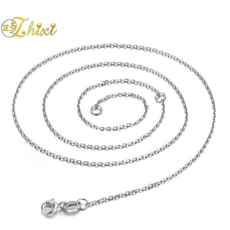ZHIXI 925 Sterling Silber Kette Fine Jewelry Echt Silber Halsketten Fit Für Anhänger 45 cm 18 inch New Fashion Geburtstag geschenk [X248]
