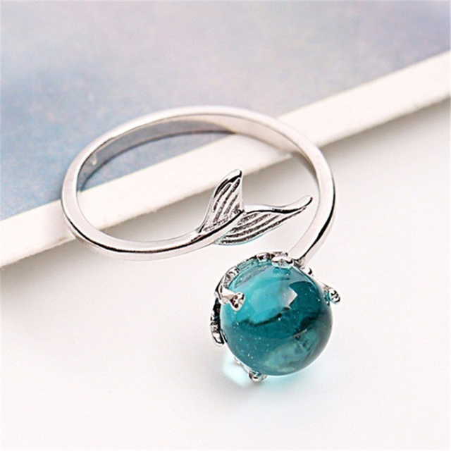Silver Color Fishtail Blue Gem Crystal Mermaid Bubble Open Rings For Women Creative Fashion Party Birthday