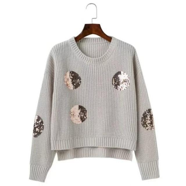 2017 с блестками в полоску линии свитер осень новые женские с круглым вырезом трикотажный пуловер свитер светло серый черный