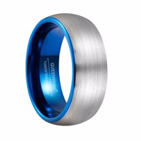 Queenwish New Arrivals 8mm Blue Tungsten Ring Silver Color Dome Brushed And Blue Plated Couple Wedding