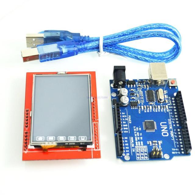 UNO R3 MEGA328P ATMEGA16U2 For Arduino +2.4 Inch TFT Touch LCD Screen Module ForArduino UNO