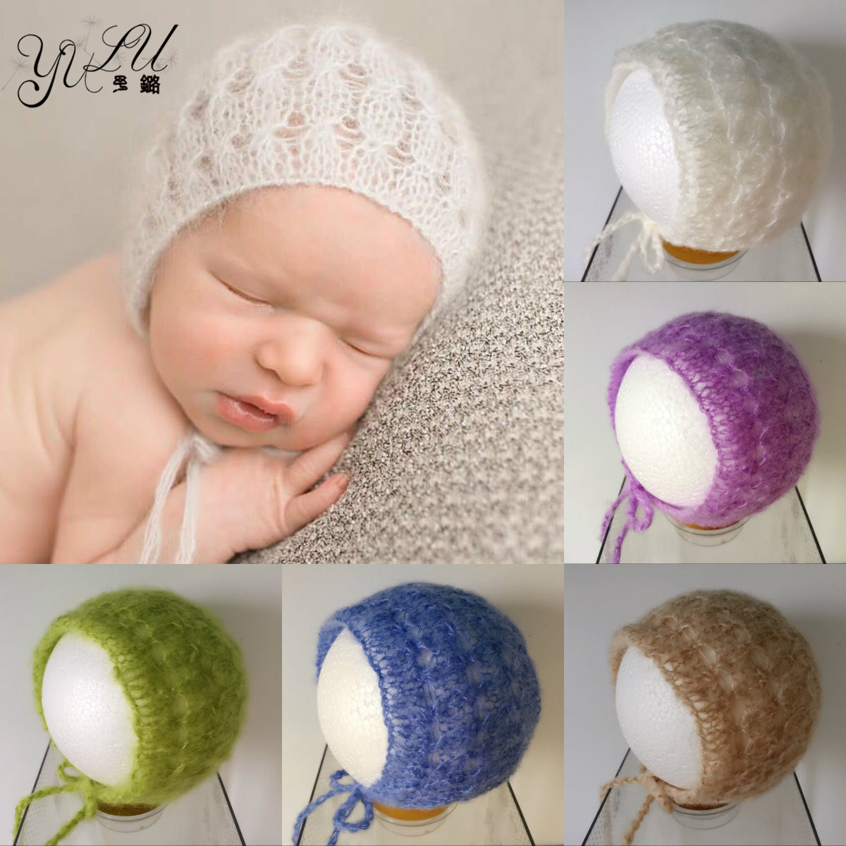 Newborn Mohair Bonnet 0-6 Month Newborn Hat Beanie Baby Crochet Knit Soft Baby Beige Grey White Cap Newborn Photography Props