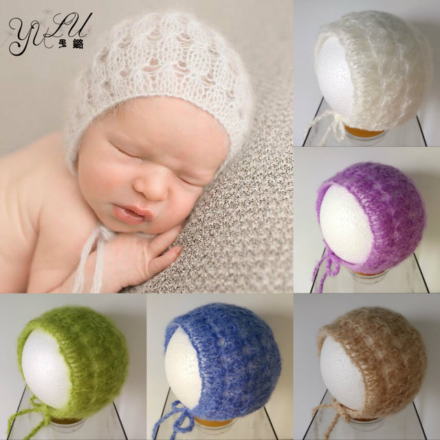Newborn Mohair Bonnet 0-6 Month Newborn Hat Beanie Baby Crochet Knit Soft  Baby Beige Grey White Cap Newborn Photography Props 13695088e14