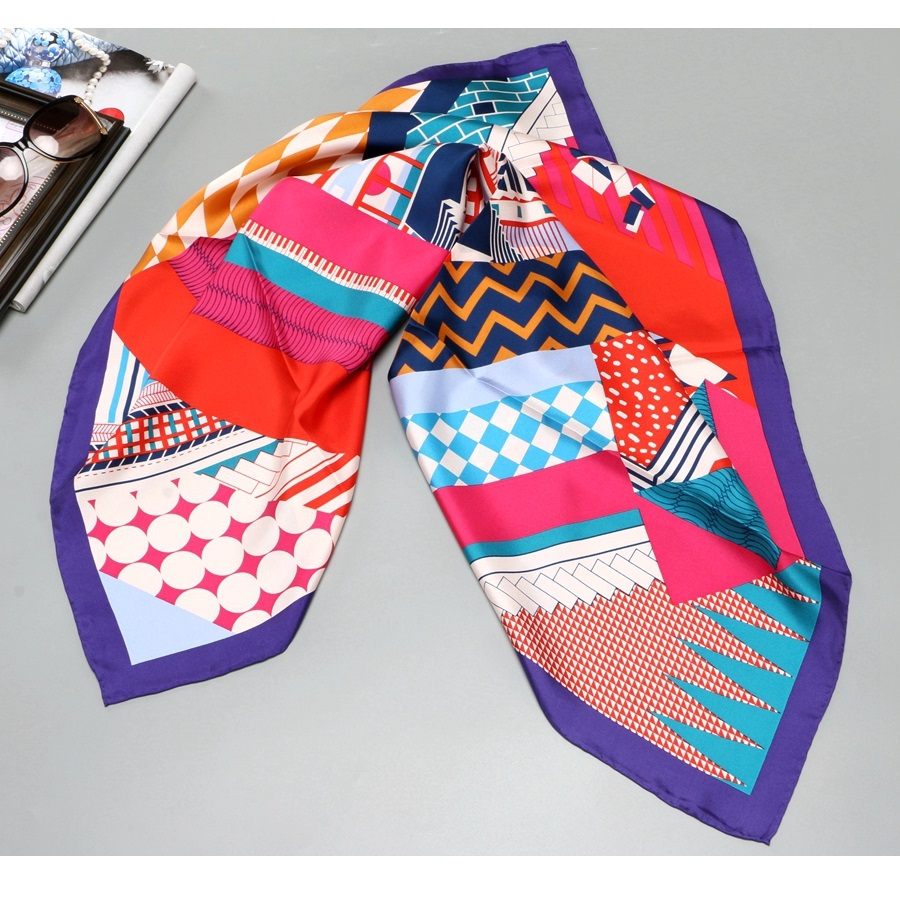 Geometric Prints Fashion 100% Silk Scarf Shawl Women's Large Square Silk Head Scarves Hijab Foulard 90*90cm