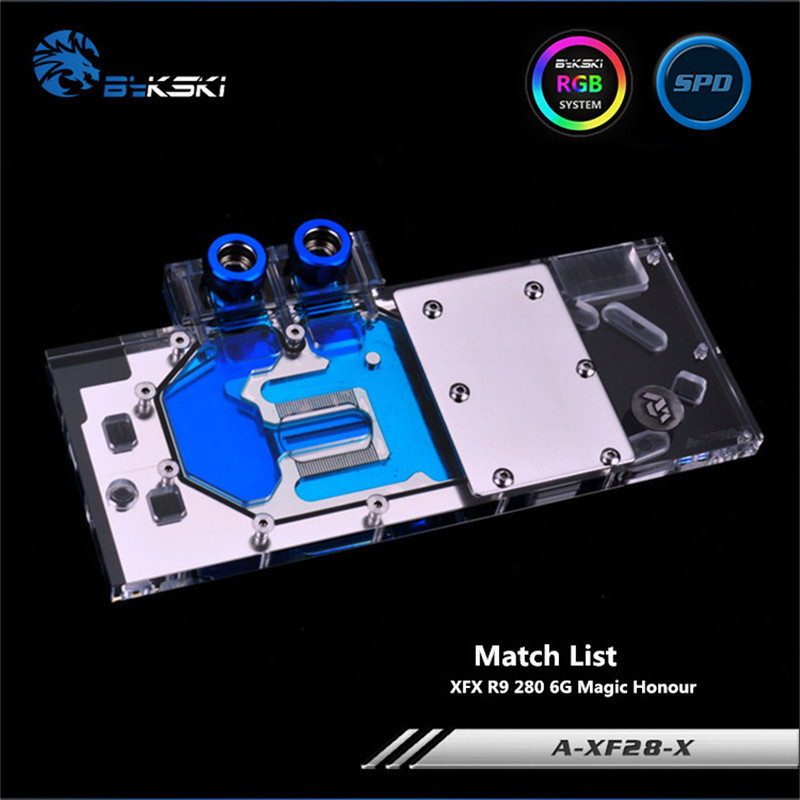 Bykski Full Coverage GPU Water Block For XFX R9 280 6G Magic Honour Graphics Card A-XF28-X bykski a xf37bwpk x full cover graphics card water cooling block for xfx r9 370 370x 380 380x