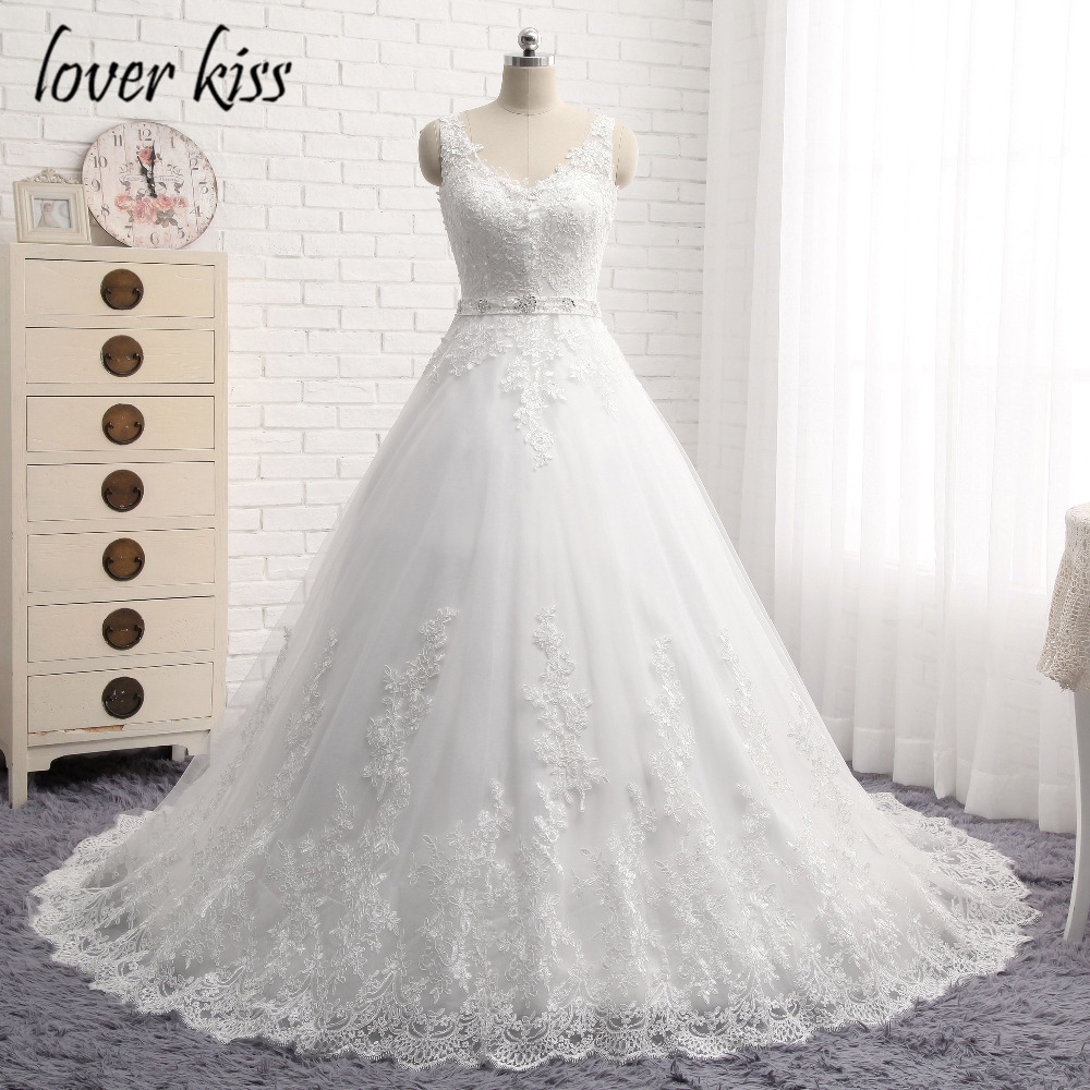 Lover Kiss Vestido De Noiva New Design A Line Lace Wedding Dress V Neck Beaded Sash Backless Sexy Vintage Gowns Wedding Dress 2