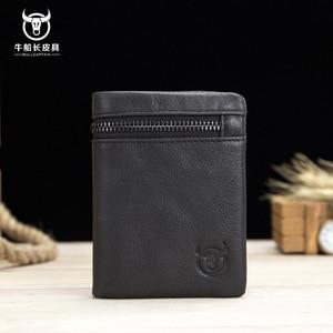Image 3 - BULLCAPTAIN 2020 MEN Coffee Cow Leather Wallet Coin Pocket Money Purse Bag Card Holder Short Trifold Hasp Zipper Wallet