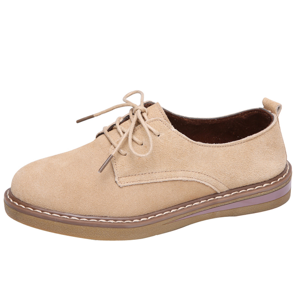 2018 Autumn women shoes flats shoes comfortable women   leather     suede   lace up boat shoes round toe flats moccasins