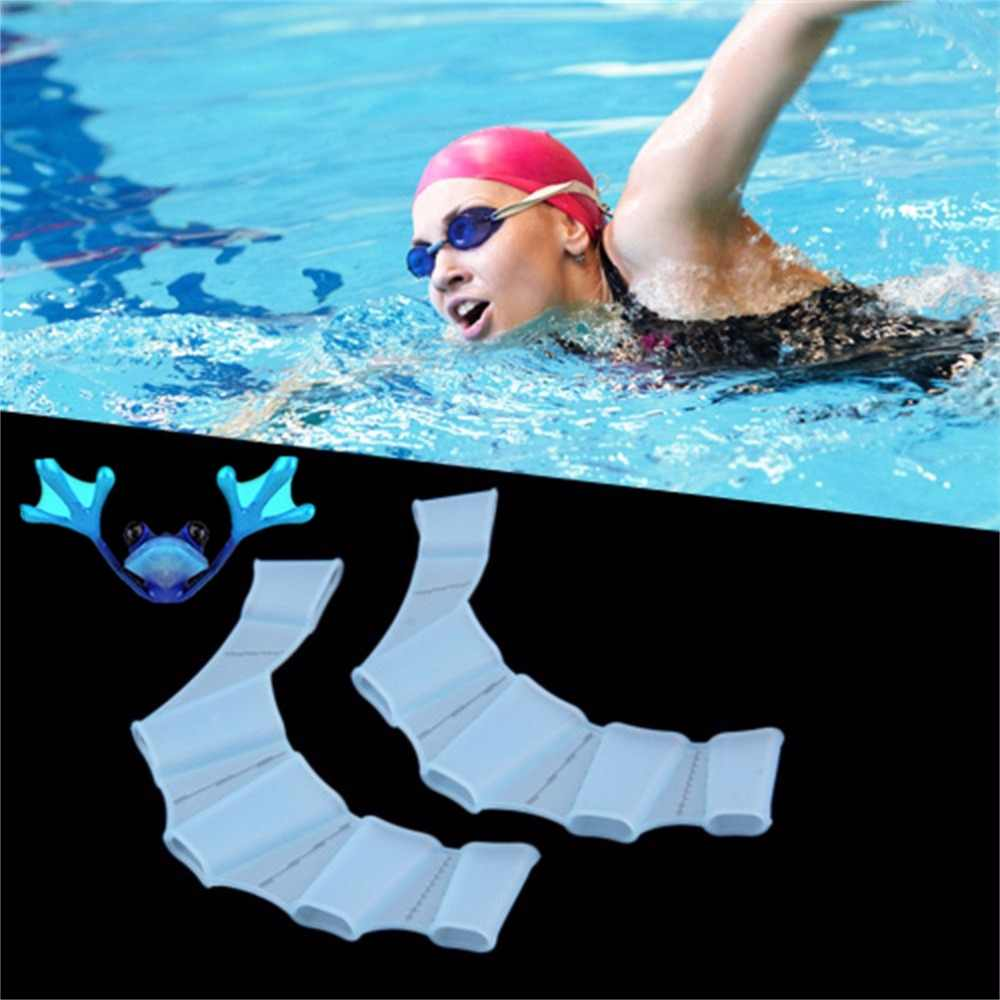 Hot Sale 1Pair Water Sports Unisex Frog Type Silicone Girdles Swimming Hand Fins Flippers Palm Finger Webbed Gloves Paddle