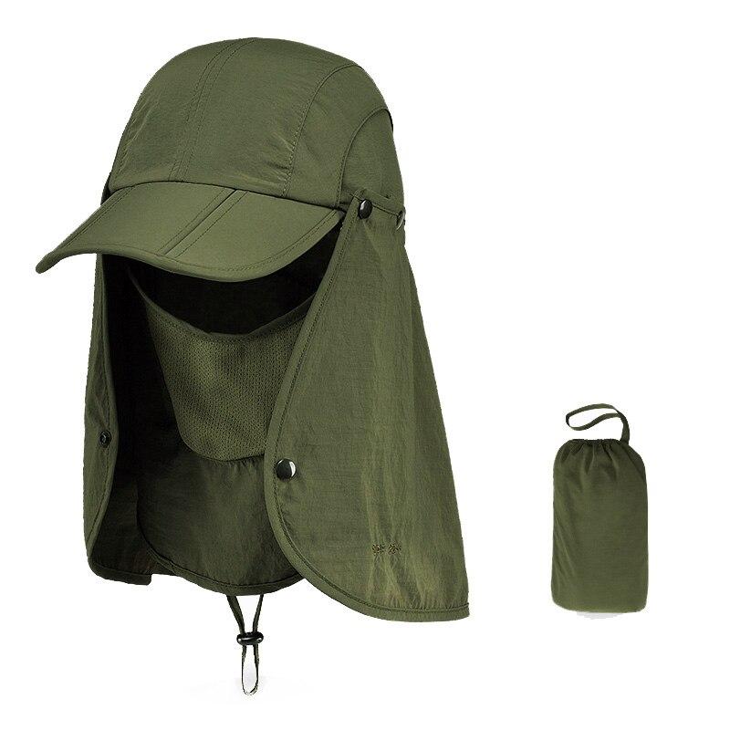 Уличная брендовая Рыбацкая походная Съемная Складная портативная Водонепроницаемая мужская шляпа-Панама женская шея с УФ-крышкой 7 цветов - Цвет: Army Green