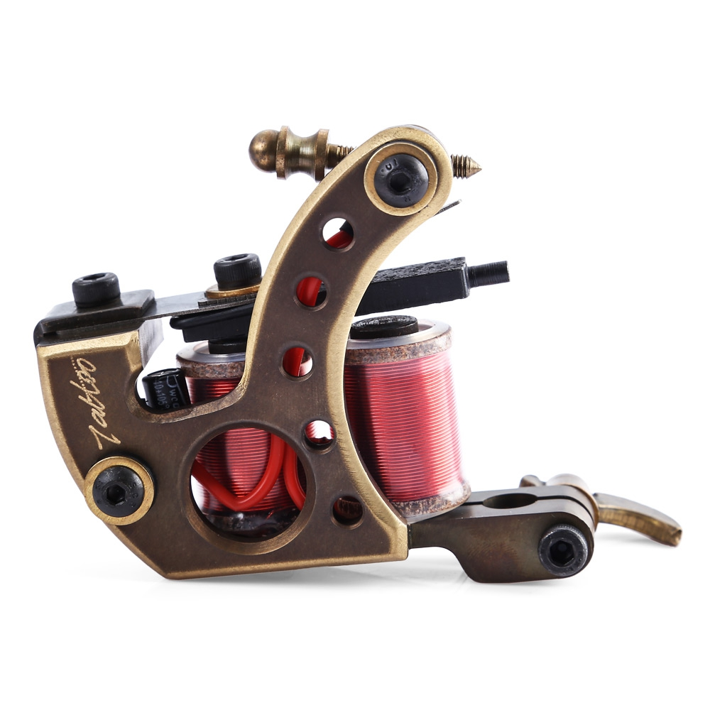 ФОТО High Accuracy Professional Handmade 12 Wrap Coils CNC Carving Copper Tattoo Machine Shader Guns for Artists