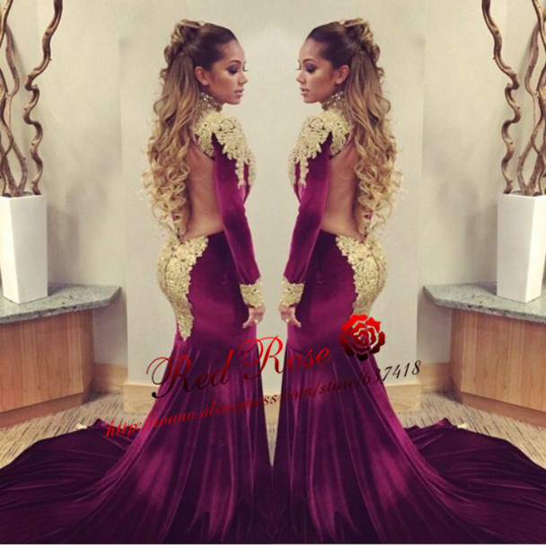 79f99f7ebe1 Sexy Burgundy Prom Dresses Party Dress Long Sleeve Open Chest Wild with Gold  Lace Mermaid Prom Dress Vestido de Formatura