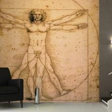 Mural Da Vinci Vitruvian Man Wallpaper Mural 3D wallpaper for walls tv background