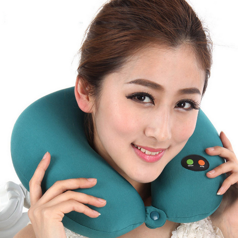 U Shaped Pillow Slow Rebound Memory Foam Pillow Travel Health Care Headrest Battery Operated Ergonomic Head Massage Neck Pillow 2017 home sleep orthopedic neck support fiber slow rebound memory foam pillow cervical health care orthopedic latex foam pillow