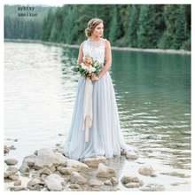 Женское винтажное свадебное платье светло голубое в стиле бохо