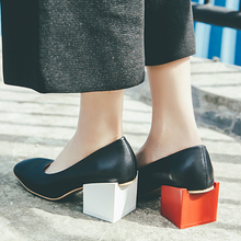 New Fashion Brand Spring Shoes Mixed Colors Thick Heel Genuine Leather Women Pumps Shallow Novelty square Toe Lazy Causal Shoes