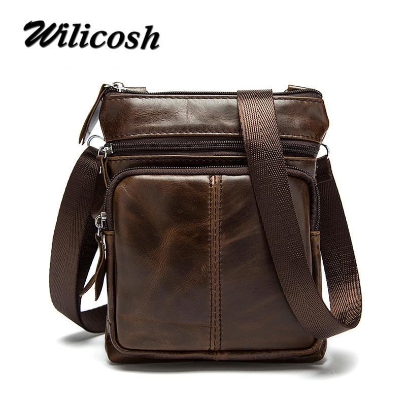 Wilicosh Genuine leather men messenger s