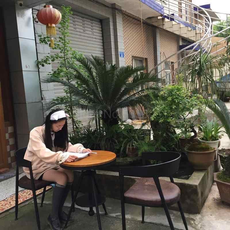 Железный обеденный стул Лофт промышленный ветер молоко чай десерт выпечки магазин кафе стул твердый круглый деревянный стол и стул комбинация
