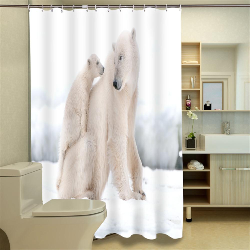 3D Oil Polar bear Boys Bathroom Shower Curtain Waterproof,3D Polar ...