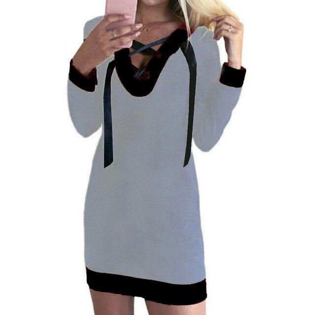 db22ebd4d7 Mini Sukienki Sexy Luźne Związać Się Nowy V Neck Z Długim Rękawem kobiet  Nowej Kobiet Bluzy