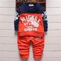 2016 novo conjunto de roupas de bebê menino crianças moda terno crianças camisa dos desenhos animados + calças 2 pcs terno crianças primavera/roupas de outono